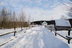 Hus i snöig ukrainsk by Royaltyfri Fotografi