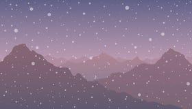 Hus i snön på natten Royaltyfria Bilder