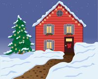 Hus i snowen vektor illustrationer