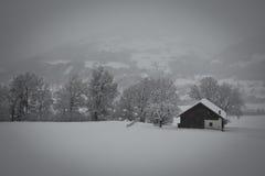 Hus i snowen Arkivbild
