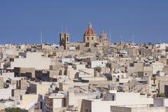 Hus i staden av Victoria på ön av Gozo Arkivfoton