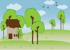 Hus i trän royaltyfri illustrationer