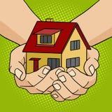 Hus i vektor för stil för handpopkonst vektor illustrationer