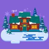 Hus i vinteraftonen, julkort, plan vektorillustration snowing vinter för bakgrund Royaltyfria Bilder