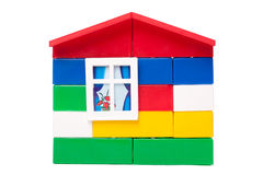 hus isolerad toywhite royaltyfri foto