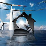Hus - ljus kula - solpanel - vindturbiner Royaltyfri Fotografi
