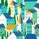 hus mönsan seamless Gullig stadsvektorillustration _ royaltyfri illustrationer