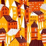 hus mönsan seamless Gullig stadsvektorillustration _ vektor illustrationer