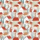 hus mönsan seamless Gullig stadsvektorillustration _ stock illustrationer