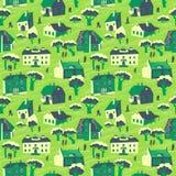 hus mönsan seamless Gullig stadvektorillustration _ vektor illustrationer