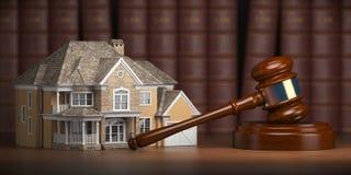 Hus med auktionsklubban och lagböcker Fastighetlag och husaucti royaltyfri illustrationer