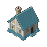 Hus med blåtttaket Royaltyfria Bilder