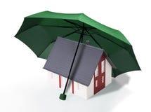 Hus med den gröna skölden Arkivfoto