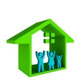 Hus med den lyckliga familjen Arkivfoton