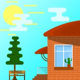 Hus med en farstubro, bänk, träd Del av det lantliga landskapet Ve vektor illustrationer