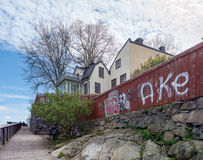 Hus med en glasveranda beläget högst upp på Söder (Maria ber Obrazy Royalty Free