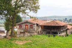 Hus med en typisk spannmålsmagasin, horreo, i Tineo asturias spain arkivfoto