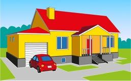 Hus med ett garage Royaltyfri Foto