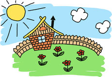 Hus med ett staket Arkivbild