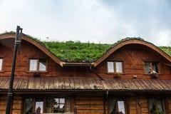 Hus med ett tak som täckas med grönt gräs Royaltyfri Foto