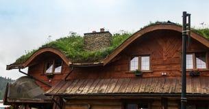 Hus med ett tak som täckas med grönt gräs Arkivbilder