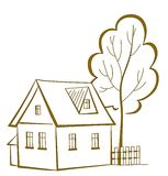 Hus med ett träd, pictogram Royaltyfria Bilder