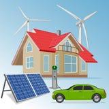 Hus med förnybara energikällorkällor, vektorillustration Fotografering för Bildbyråer