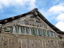 Hus med inbyggde glasflaskor, Nicaragua arkivfoto