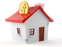 Hus med myntet vektor illustrationer