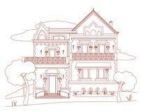 Hus med rött färgpulver Royaltyfri Bild