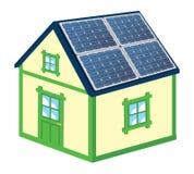 Hus med solpaneler royaltyfri illustrationer