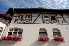 Hus med solrosor i Bacharach längs Rhendalen i Tyskland Royaltyfria Bilder