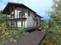 Hus med terrassen och balkongen Arkivfoton