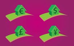 Hus med till salu valuta, hyra eller intecknar vektor illustrationer