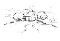 Hus med trädgården i höst Royaltyfria Bilder