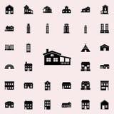 Hus med verandasymbolen inhysa den universella uppsättningen för symboler för rengöringsduk och mobil vektor illustrationer