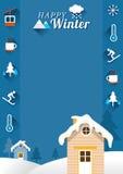 Hus med vintersymboler, ram Arkivfoto