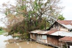 hus nära den träfloden Arkivfoto