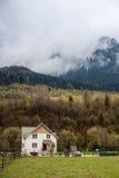 Hus nära skog Arkivbild