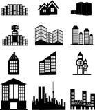 Hus- och byggnadssymboler royaltyfria foton