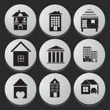 Hus- och byggnadssymbolsuppsättning Royaltyfri Bild
