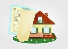 Hus och dess projekt Royaltyfria Bilder
