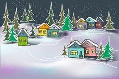 Hus och granar för gullig hemtrevlig karamell för nattvinterlandskap mångfärgade i snödrivor stock illustrationer