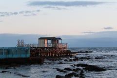Hus och hav Solnedgång ferie koppla av tid Arkivbilder