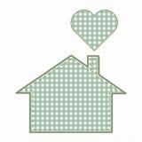 Hus och hjärta, handarbete Gulligt behandla som ett barn stil Royaltyfria Bilder