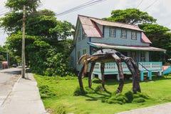 Hus- och krabbaskulptur i San Andrés arkivfoton