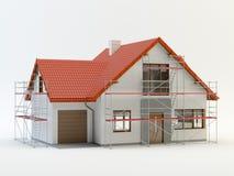 Hus och material till byggnadsställning, illustration 3D royaltyfri illustrationer