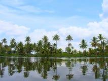 Hus och palmträd, tillbaka vatten av Kerala Royaltyfri Fotografi