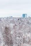 Hus och snöskog i vinterdag Royaltyfria Foton