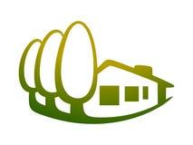 Hus och träd 2 stock illustrationer
